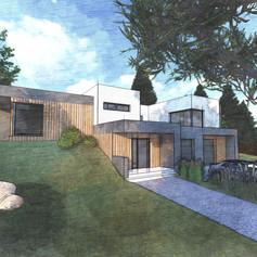 Moderní rodinný dům v prudkém svahu