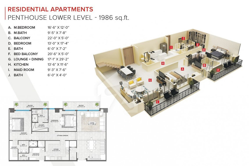 zameen_ace_mall_2bed penthouse lower lvl