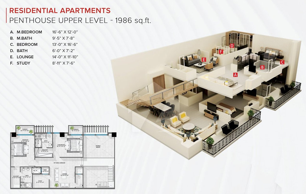 zameen_ace_mall_2bed penthouse upper lvl