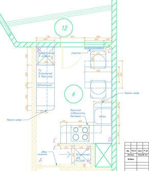 дизайн-проект, чертеж, планировка кухни, вид сверху