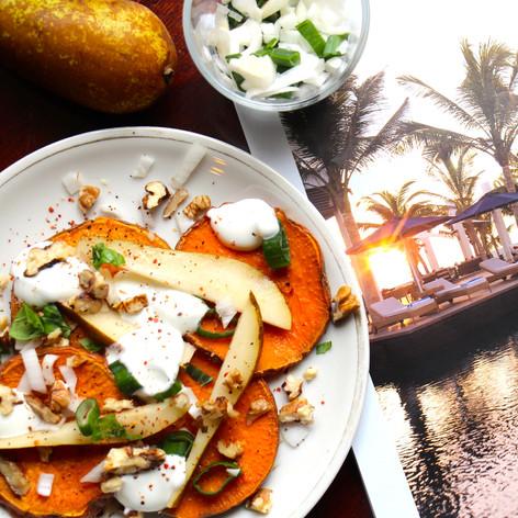 Ofen-Süßkartoffeln mit Birne & Frühlingszwiebel