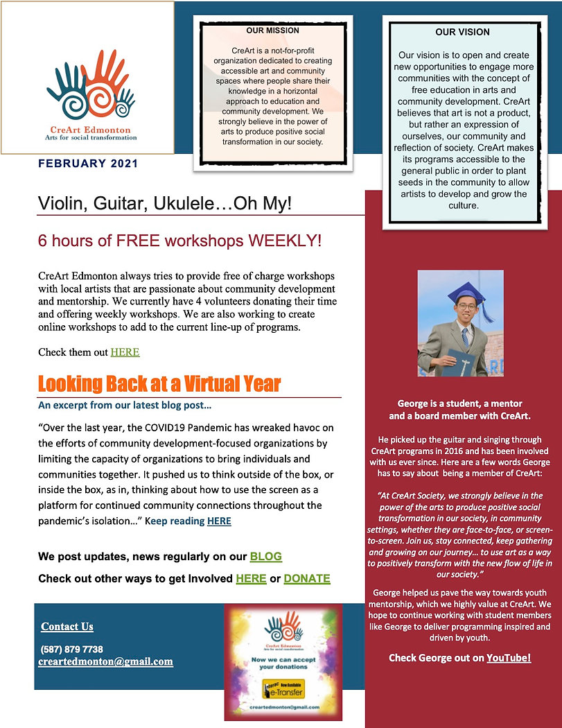 page 1 CreArt Newsletter FEBRUARY 2021.j