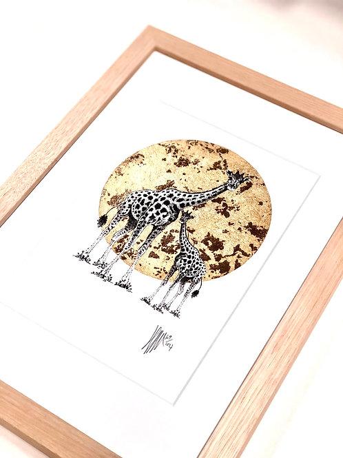 A4 Hand-Made Tasmanian Oak Frame with Giraffe