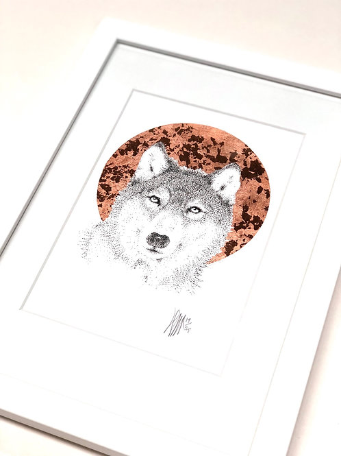 A4 Hand-made White Frame with Wolf