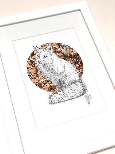 A4 Hand-made White Frame with Fox