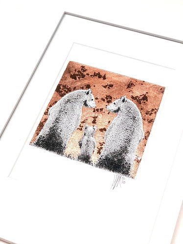 A4 Hand-made White Frame with Bears