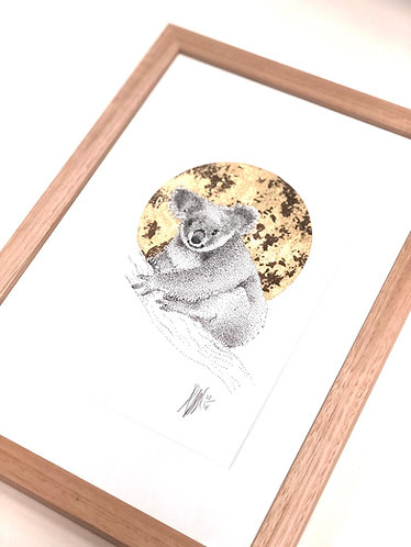 A4 Hand-Made Tasmanian Oak Frame with Koala
