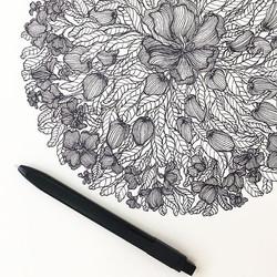 flowers and fruit mandala print
