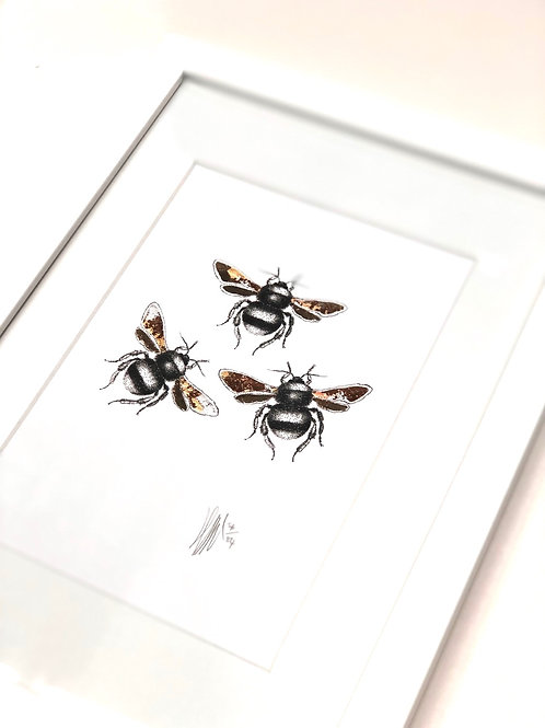 A4 Hand-made White Frame with Bees