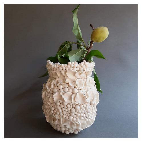 Beaded and Ruffled Bud Vase