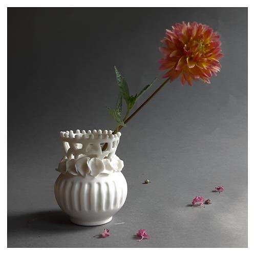 Ruffled Lace Bud Vase