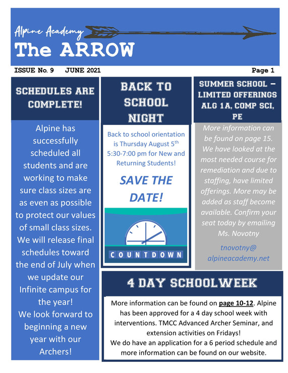 2020-2021 Alpine Academy Arrow June 2021