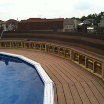 Finished pool deck with finished seating