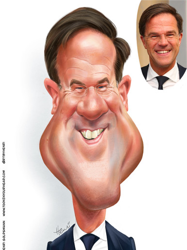 Detailed Caricature option-Mark Rutte, PM The Netherland