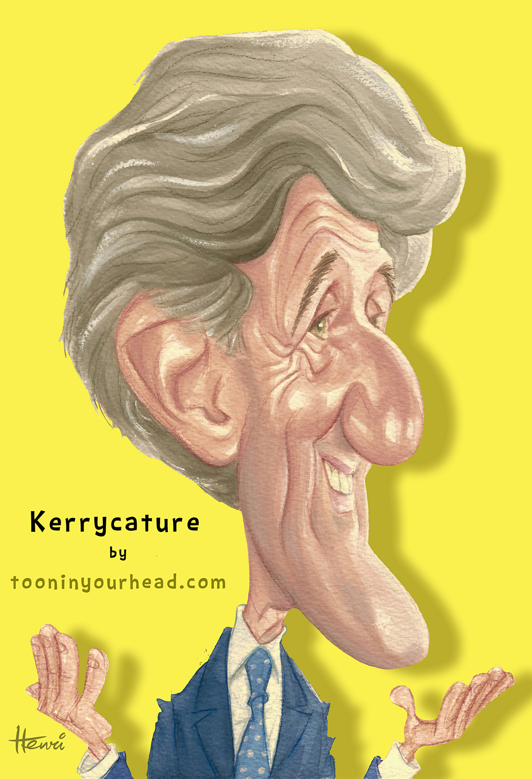 John Kerry Caricature by Henri Goldsmann