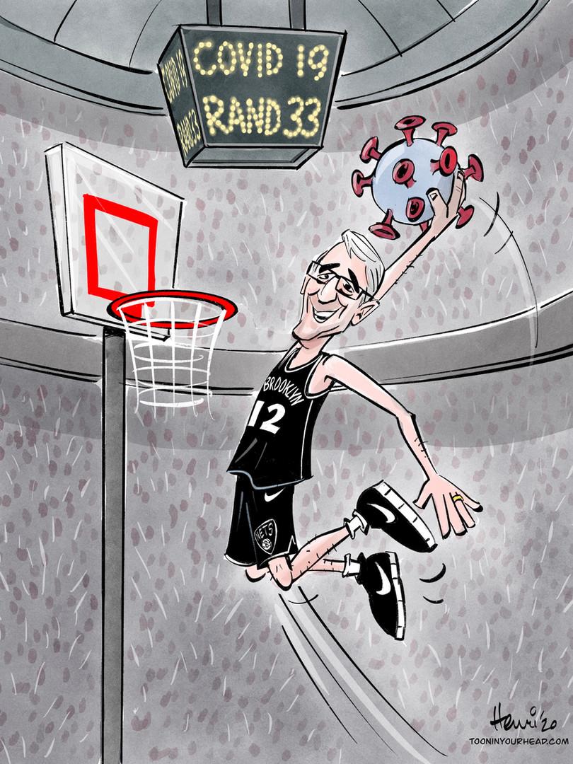 Brooklyn Nets cartoon of Doctor beating Covid