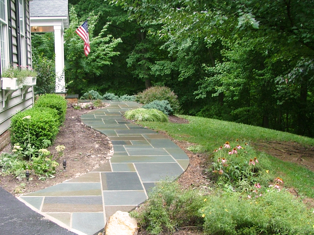Stone walkway to front door
