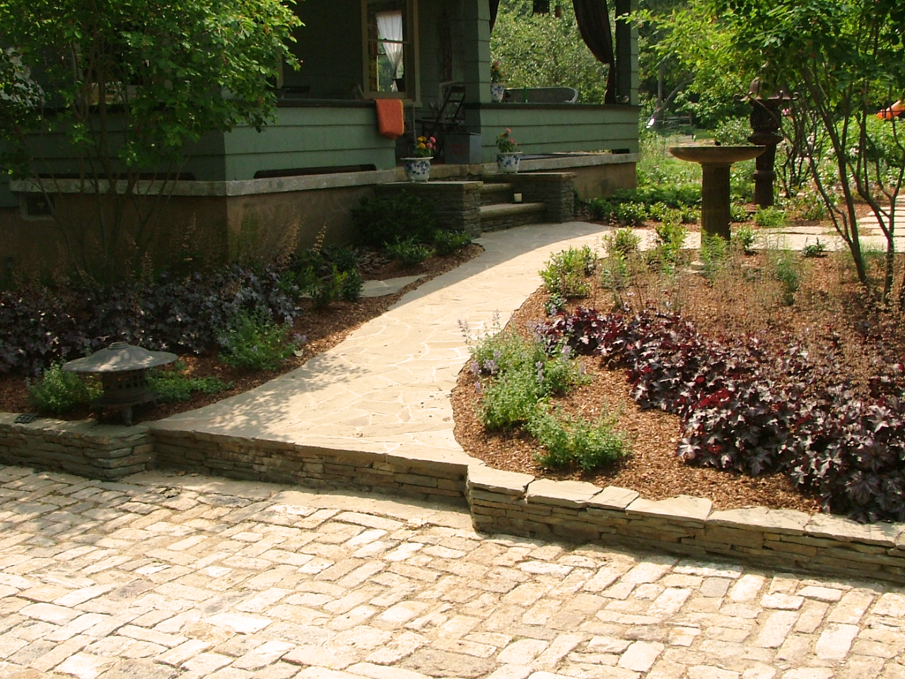 Natural stone path to front door