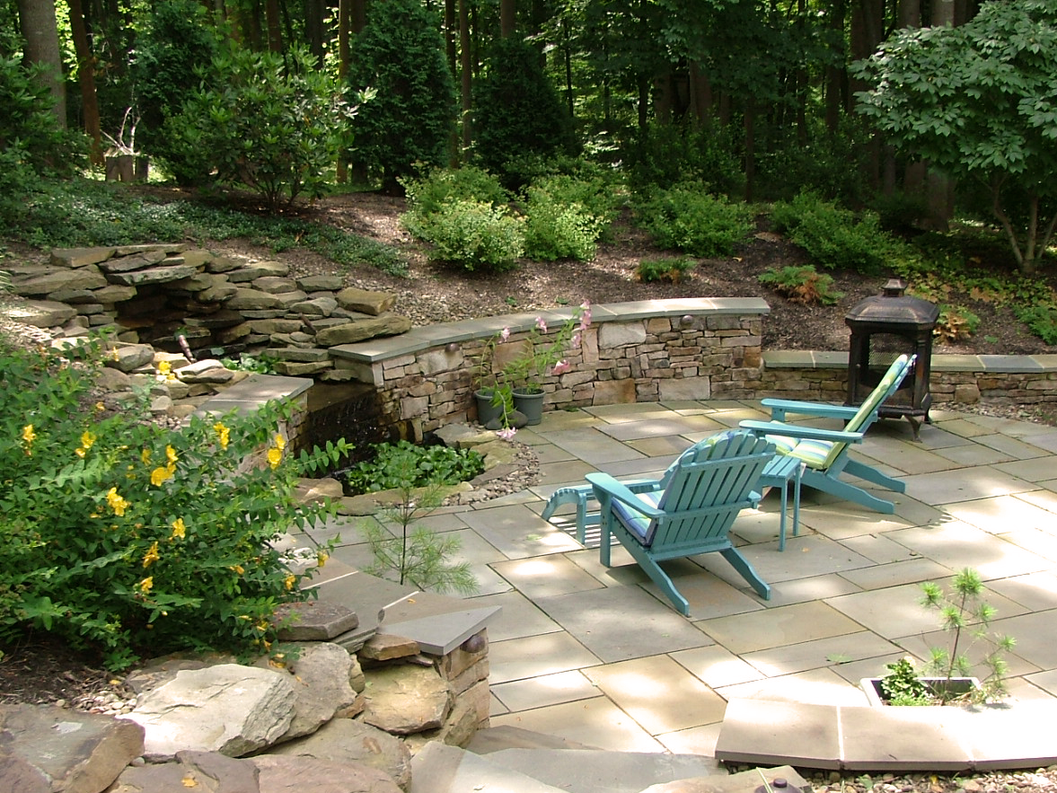 Outdoor patio with waterfall