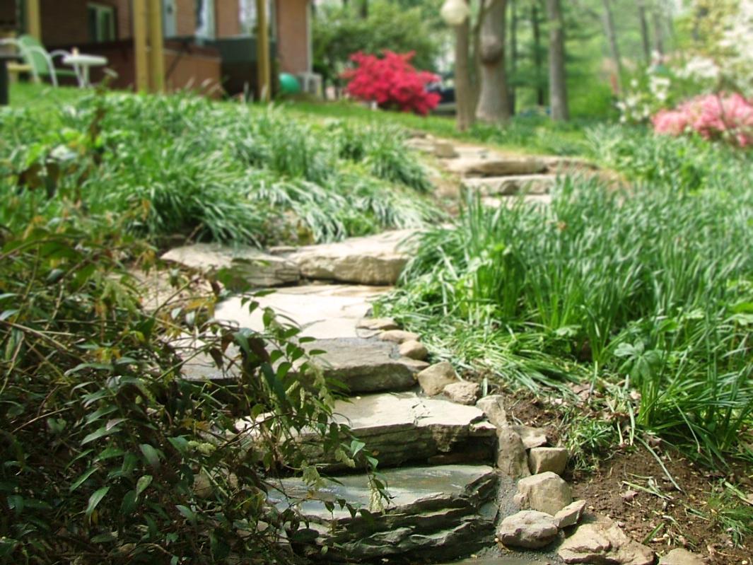 Natural stone stair path