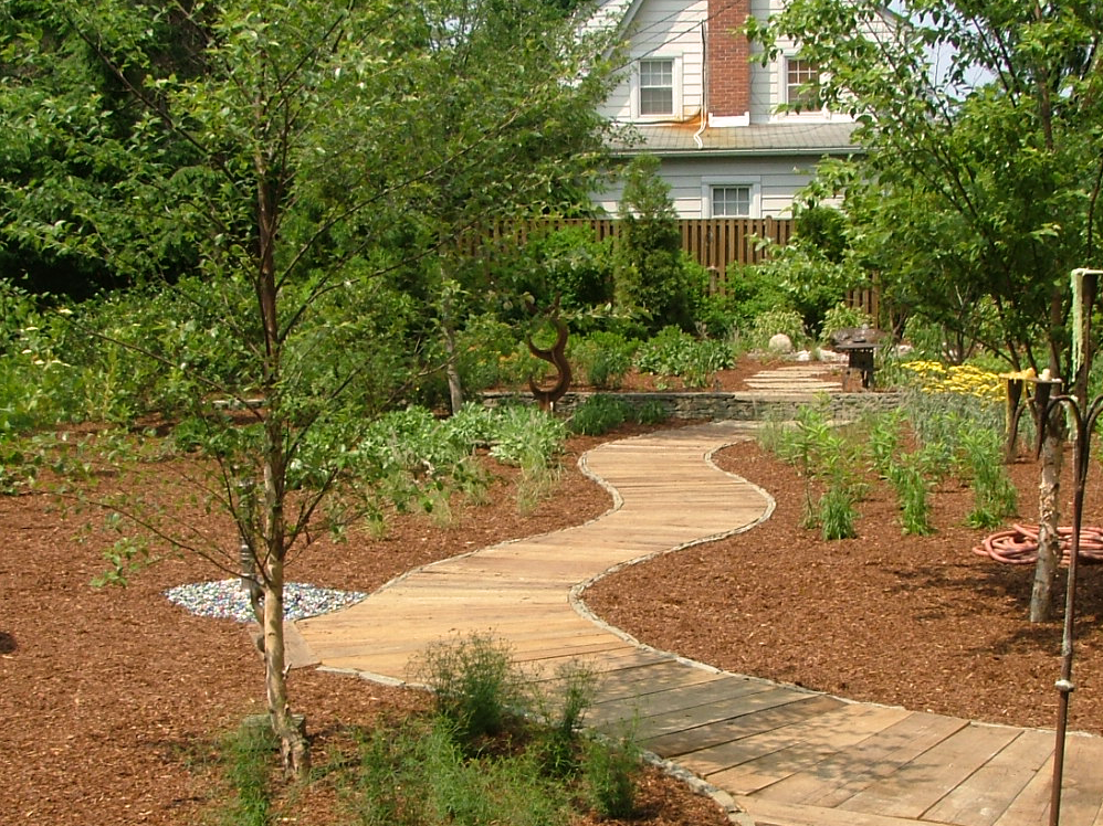 Natural landscaped backyard with sto