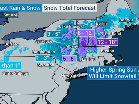 Snow map from The Weather Channel