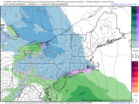 The Euro does show some snow for New England late next week: