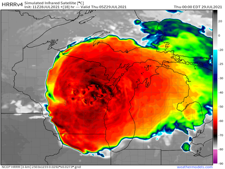 **Hurricane-force gusts, very large hail, and tornadoes! This looks like a derecho to me!**