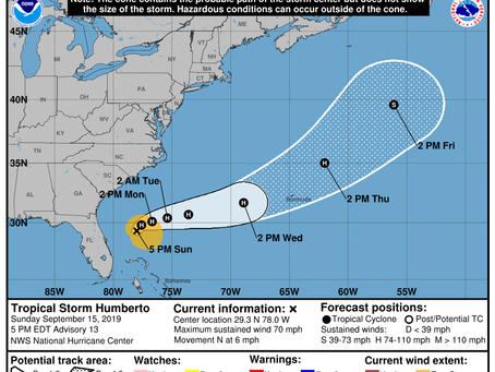 Tropical Storm Humberto Continues to Intensify