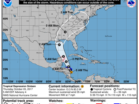 The Latest Guidance for the Tropical System (Future Nate) to Affect the Gulf Coast States