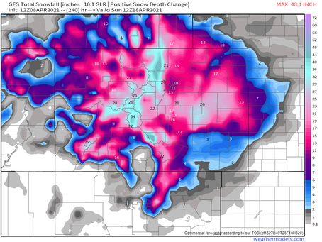 Check out the snow map for Colorado for the next 10 days from the GFS: