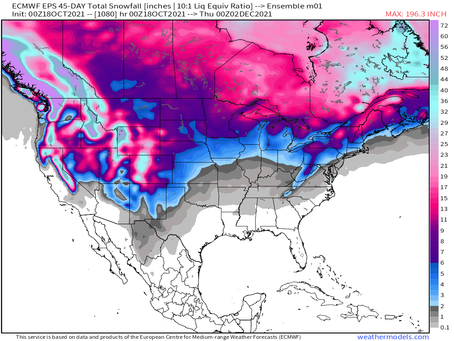 45-day snow map: