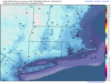 30's on the map for inland areas late tomorrow night into early Tuesday morning: