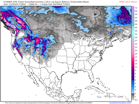 It's just about time to start watching the Euro ensemble mean snow map for the next 15 days: