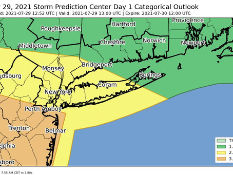 Upgraded severe weather threat with both yellow and orange zones expanding northeastward!
