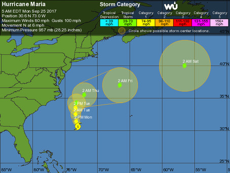 Projected Paths For Hurricane Maria and Hurricane Lee, and How Long the Warm Weather on Long Island