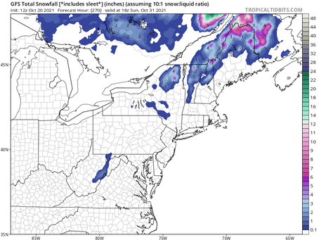 The GFS continues to bring some snow to the northeast before the end of October: