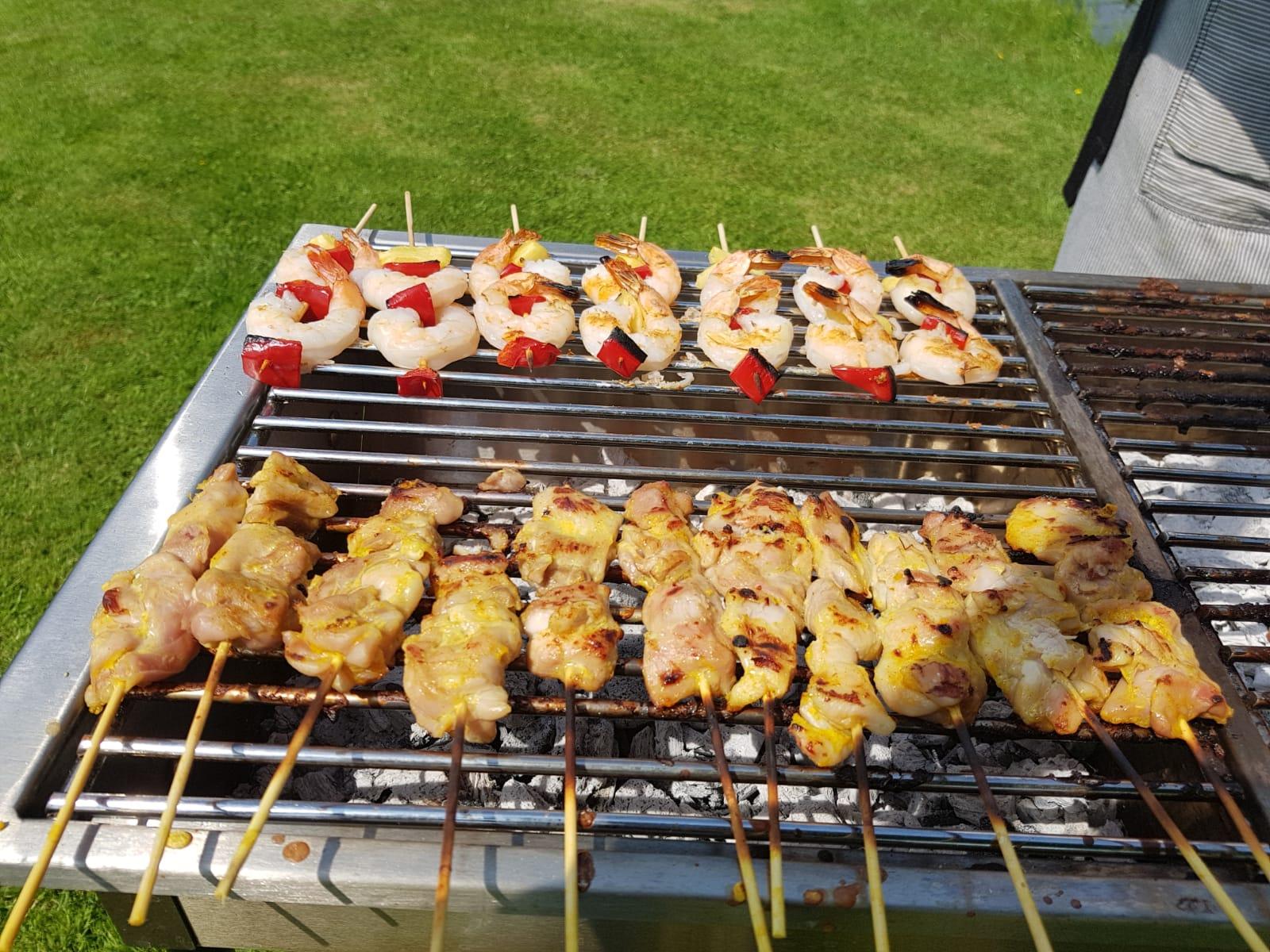 Satays / Prawns On the BBQ