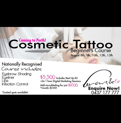 Beginner's Cosmetic Tattoo Course - Perth Starts August 8th 2019
