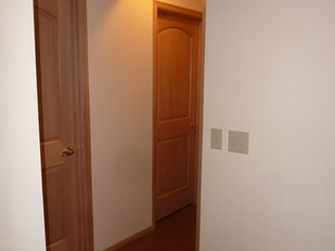 Half Bath and Shower Doors Seen From Living Room