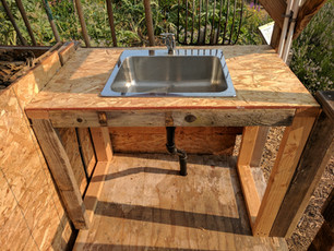 Outdoor Sink using Solar Heated Hot Water
