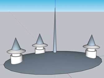 tree house roof with pointed turrets, pe