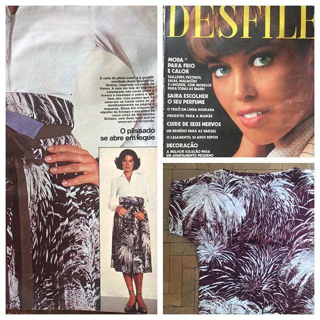 Revista desfile de 1976 tecido estampa fogos de artifício e ao lado embaixo blusa original da época