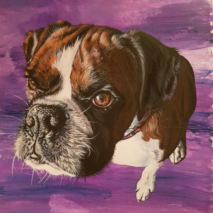 George with mixed purple background