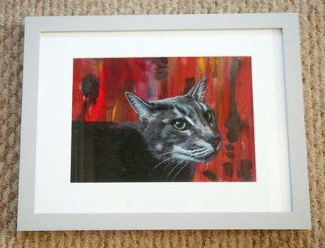 Grey framed A4 portrait with mixed red background