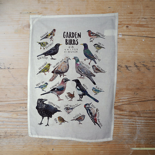 Garden Birds of the UK - tea towel/wall hanging