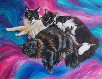 Large A2 portrait of three furry friends with mystical blue and purple background