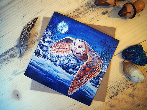 Flying barn owl card