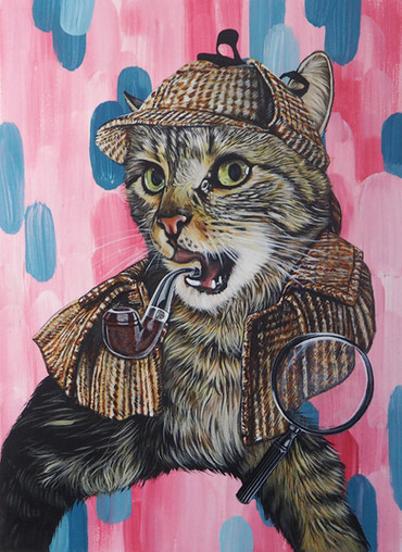 Sherlock - A4 portrait with mixed blue and pink background and added outfit