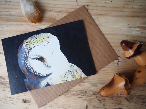 Black barn owl card